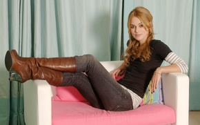 Picture look, girl, sofa, jeans, boots, actress, Keira Knightley, Keira Knightley
