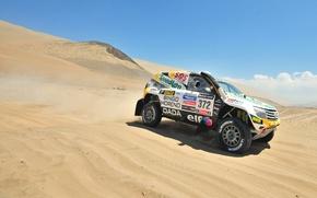 Picture Sand, Auto, Sport, Desert, Machine, Speed, Race, Renault, Rally, Dakar, SUV, Rally, Side view, 372
