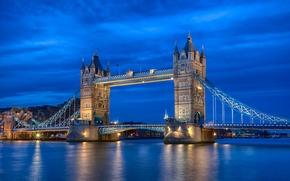 Picture the sky, night, river, England, London, lighting, UK, Thames, blue, Tower bridge, capital