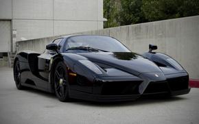 Picture black, the building, the fence, ferrari, Ferrari, black, front view, enzo, Enzo