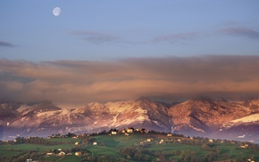 Picture the sky, mountains, the city, the moon