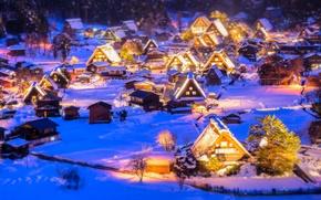 Wallpaper winter, snow, lights, New Year, Christmas, illumination, Christmas village