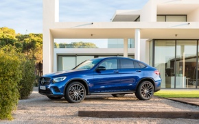 Wallpaper Mercedes-Benz, Coupe, Mercedes, GLC-Class, AMG, blue, C253