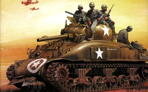 """Picture the sky, figure, art, tank, American, aircraft, infantry, Marines, average, WW2, M4""""Sherman"""""""