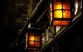 Wallpaper retro, light, Lights