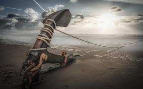 Picture sea, beach, anchor