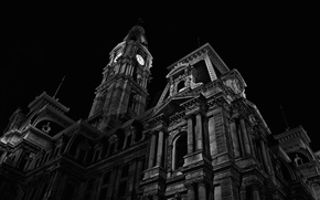 Picture night, black and white, Chapel, Architecture, Philadelphia, PA