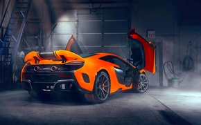 Wallpaper rear view, Maclaren, door, up, garage, light, spoiler