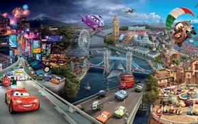Picture lightning, pixar, MACHINE, The CITY, HOME, ROAD, CARTOON, CARS 2, BRIDGES, cars 2