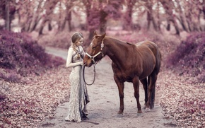 Picture road, autumn, girl, mood, horse, horse, dress