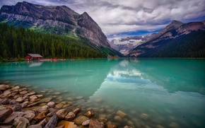 Picture trees, landscape, mountains, lake, Canada, boathouse