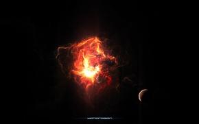 Wallpaper planet, constellation, satellite, nebula, glow