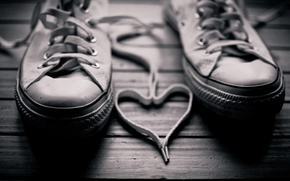 Picture sneakers, floor, background, heart, black, white, laces, photo, walls
