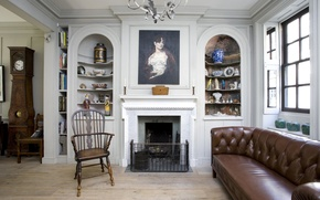 Picture design, room, interior, fireplace, British style