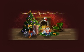 Wallpaper tree, new year, Christmas, snake, boy, gifts, helmet, fireplace, new year, hockey, skates, merry christmas, ...