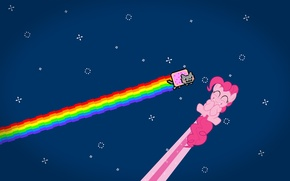 Picture cat, stars, rainbow, anime, nyan cat, pinkie pie