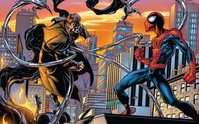 Picture roof, the city, fire, smoke, home, New York, skyscrapers, comic, Marvel Comics, Spider-Man, Peter Parker, …