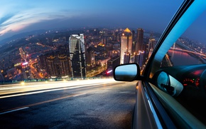 Wallpaper road, macro, light, the city, lights, strip, movement, markup, speed, panel, excerpt, blur, devices, mirror, ...