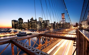 Wallpaper sunset, new York, sunset, new york, usa, nyc, Brooklyn Bridge, Financial District