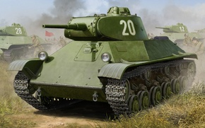 Picture T-50, war, art, painting, tank