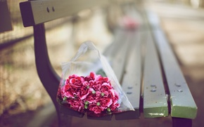 Wallpaper flowers, bouquet, bench, Wallpaper, blur, bokeh, mood, shop
