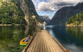 Wallpaper water, mountains, boat, ship, Norway, the bridge, Lofoten