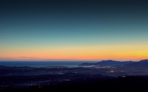 Picture light, night, lights, city, shore, coast, landscapes, home, the evening, Italy, full hd 2560x1440