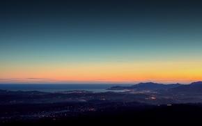 Wallpaper light, landscapes, home, city, shore, coast, lights, Italy, the evening, night, full hd 2560x1440
