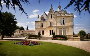 Picture Park, castle, France, garden, Bordeaux, The Chateau Pape Clement