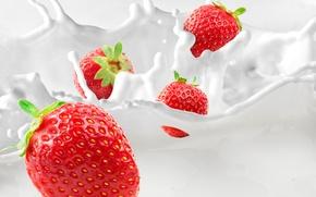 Picture berries, milk, strawberry