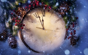 Picture winter, snow, holiday, New Year, Christmas, Christmas, New Year, clock