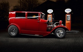 Picture car, Ford, Hot Rod, Red Ford
