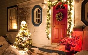 Wallpaper windows, Christmas wreath, holiday, snow, Happy New Year, Christmas, winter, holiday, Happy New year, Merry ...