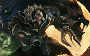 Picture the moon, wolf, art, Dota 2, Night Stalker, Balanar, Lycan, Wraith King, Banehallow