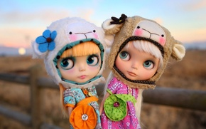 Picture nature, girls, toys, doll, caps
