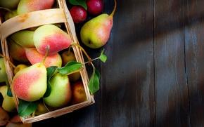 Picture autumn, leaves, drops, table, basket, fruit, pear
