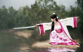 Picture girl, weapons, katana