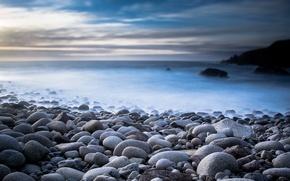Picture sea, landscape, nature, stones, haze