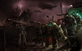 Picture the storm, ships, fighters, Warhammer 40k, the commander