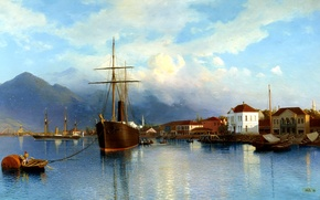 Picture the sky, water, clouds, mountains, ship, Marina, Bay, boats, painting, Batum, Lev Lagorio