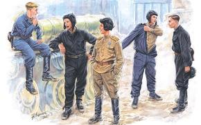 Picture stay, art, soldiers, WWII, break, the crew, Soviet, WW2, A. Karashchuk., tank, htonic
