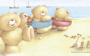 Picture sea, summer, smile, mood, art, bear, children's, Forever Friends Deckchair bear