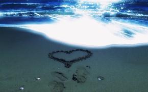 Picture sand, sea, beach, heart