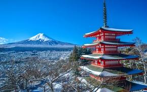 Picture winter, mountain, the volcano, Japan, Fuji, panorama, pagoda, Japan, Mount Fuji, Fuji, Chureito Pagoda, Fujiyoshida, …
