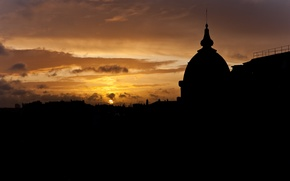 Picture the sun, sunset, Paris, roof, silhouette