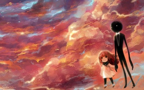 Wallpaper the sky, clouds, sunset, butterfly, shadow, anime, art, girl, girl, deemo, lyiet