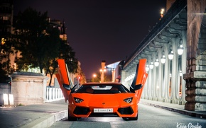 Picture night, the city, lights, France, Paris, Lamborghini, Lamborghini, Lamborghini, LP700-4, Aventador, Aventador