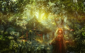 Picture light, thickets, foliage, katana, temple, priestess, ears, sanctuary, Fox girl