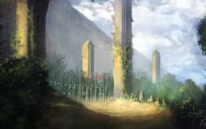 Picture forest, stones, fantasy, art, fantasy, forest, warriors, art, warriors, March, Jonathan Dufresne, Jonathan Dufresne, stele