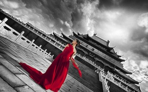 Picture white, girl, red, black, China, Palace